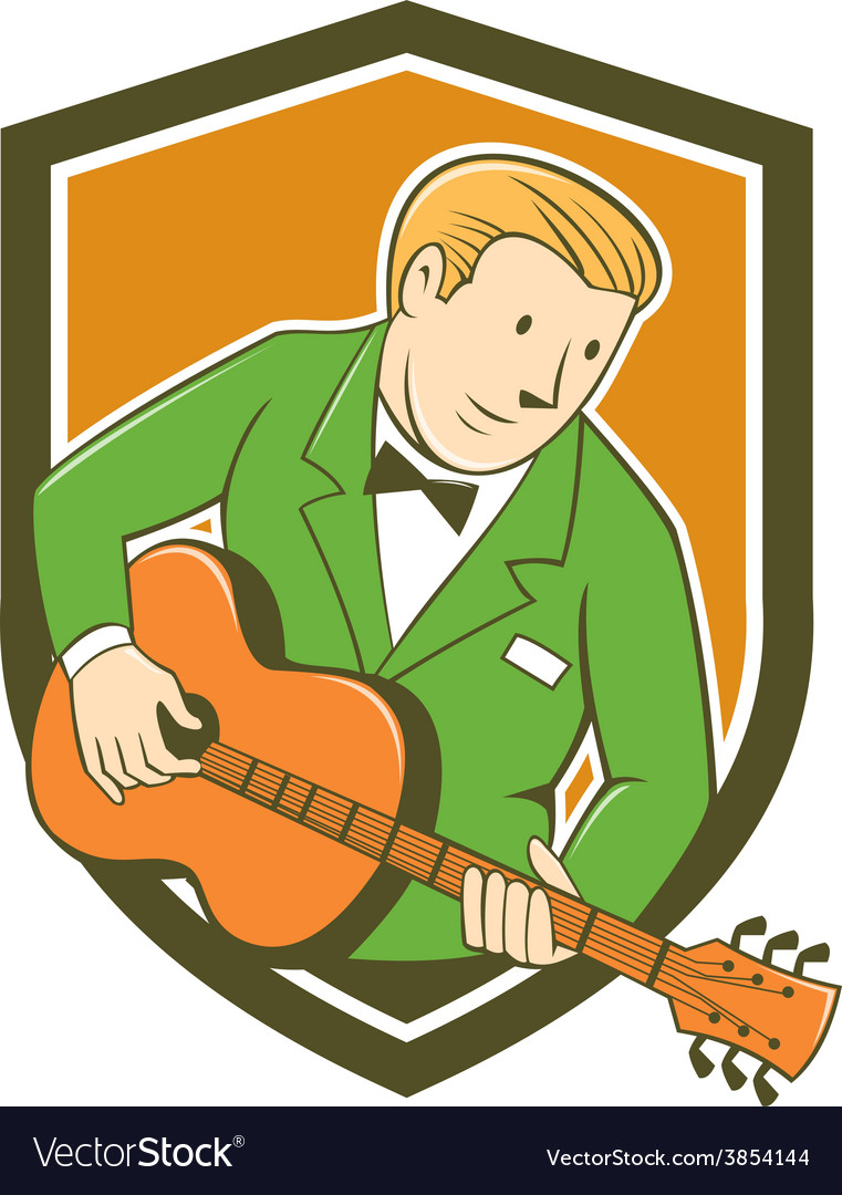 Musician guitarist playing guitar shield cartoon vector | Price: 1 Credit (USD $1)