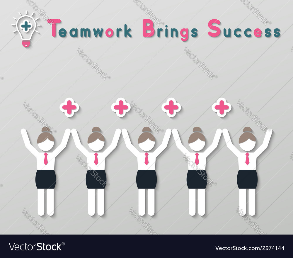 Positive thinking teamwork business concept vector | Price: 1 Credit (USD $1)
