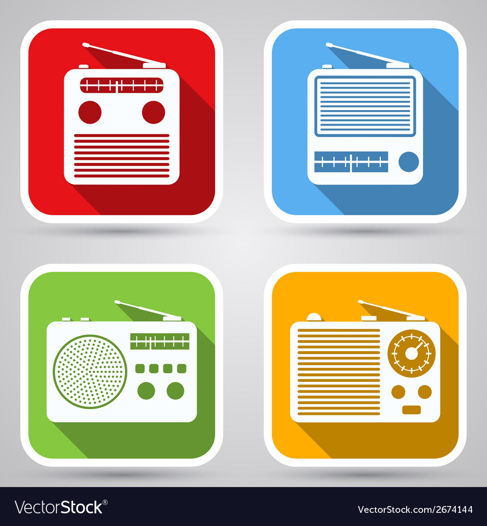 Radio receivers icons vector | Price: 1 Credit (USD $1)
