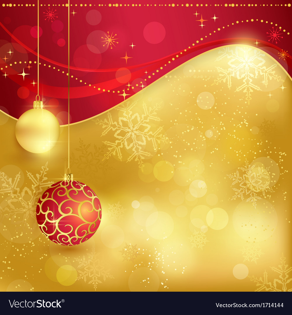 Red golden christmas background with baubles vector | Price: 1 Credit (USD $1)