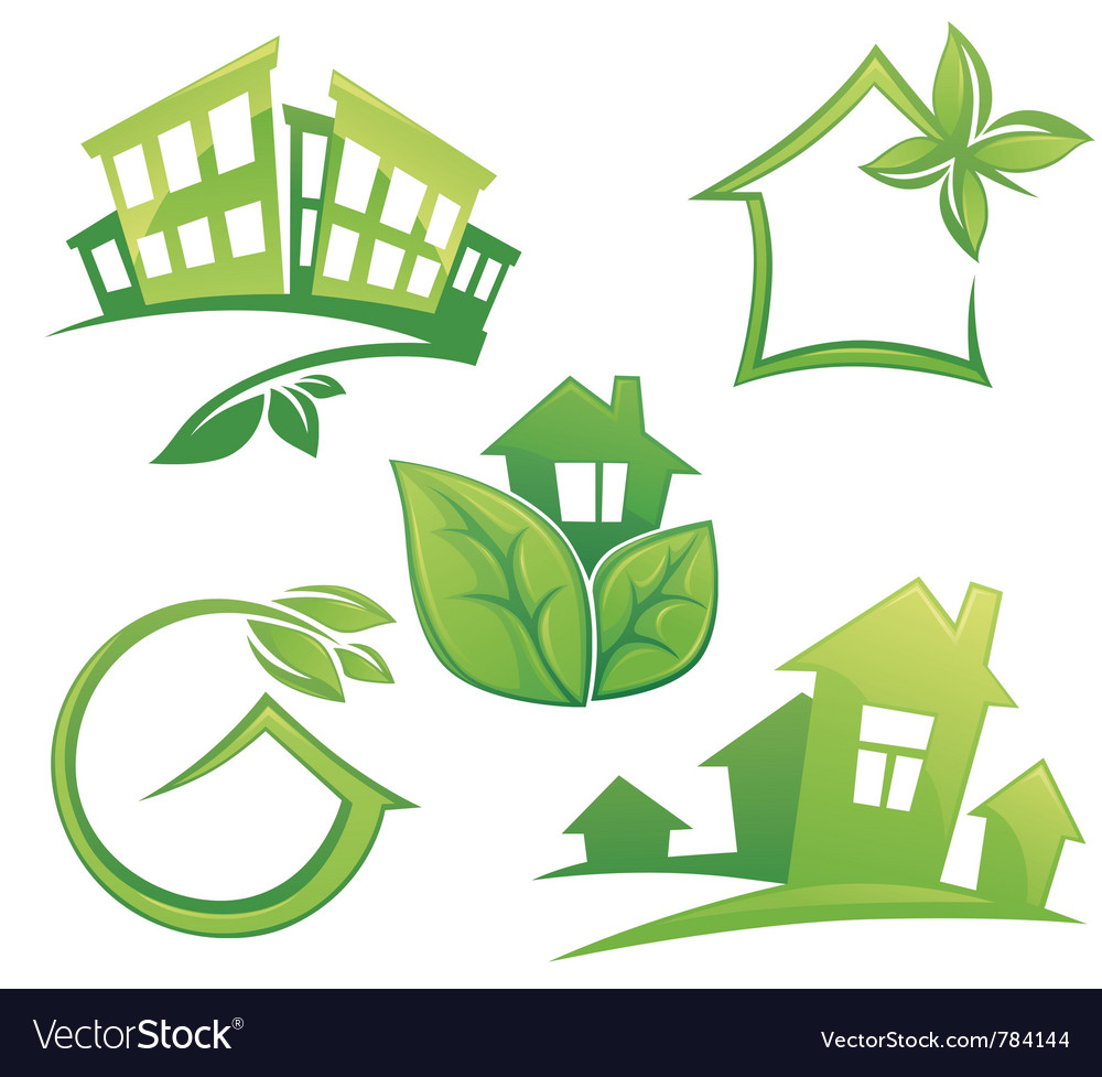 Set of ecological city and homes vector | Price: 3 Credit (USD $3)