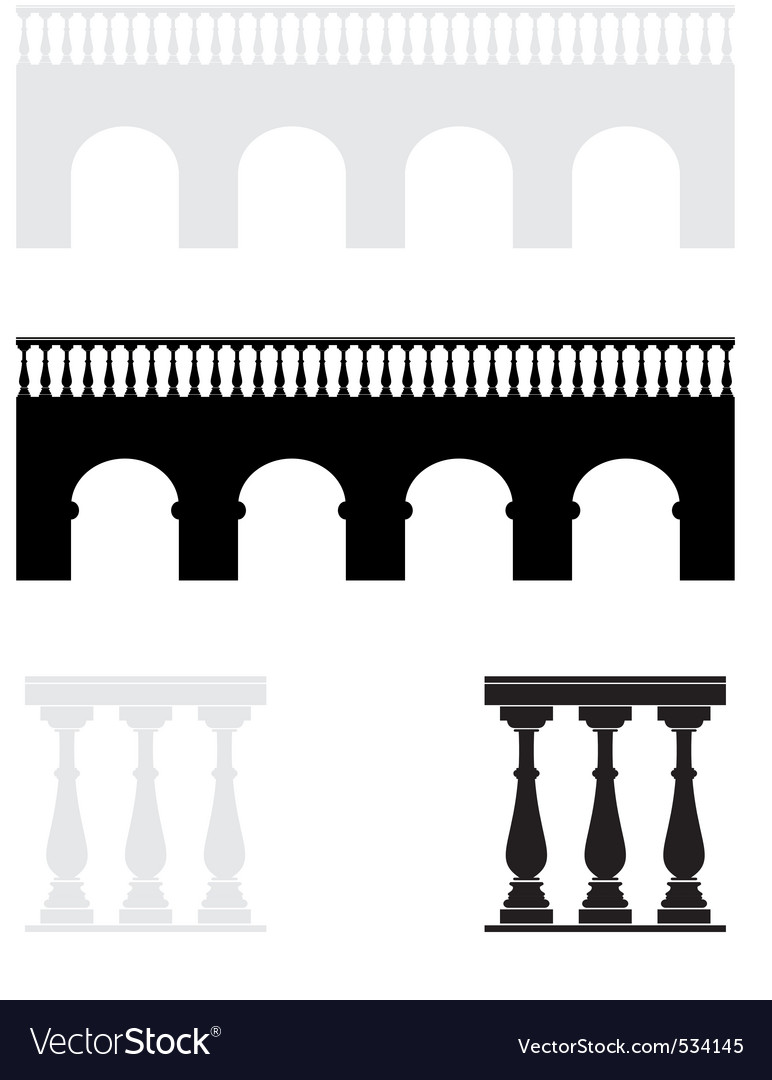 Ancient bridge balustrade vector | Price: 1 Credit (USD $1)