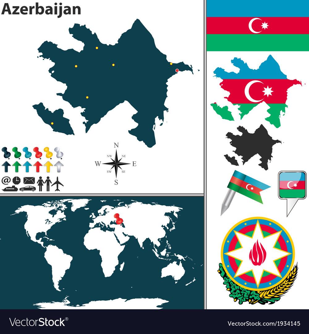 Azerbaijan map world vector | Price: 1 Credit (USD $1)