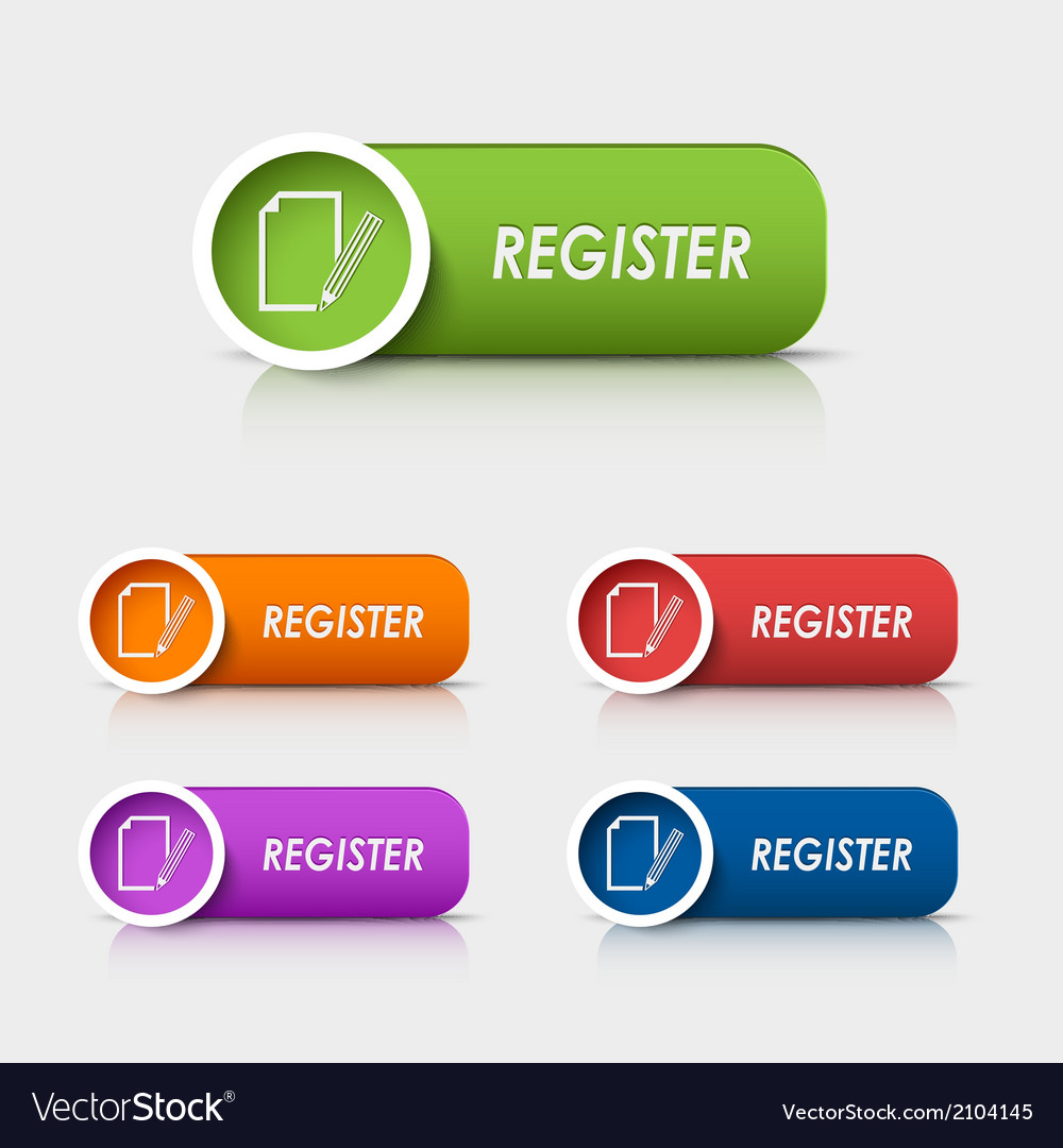 Colored rectangular web buttons register vector | Price: 1 Credit (USD $1)
