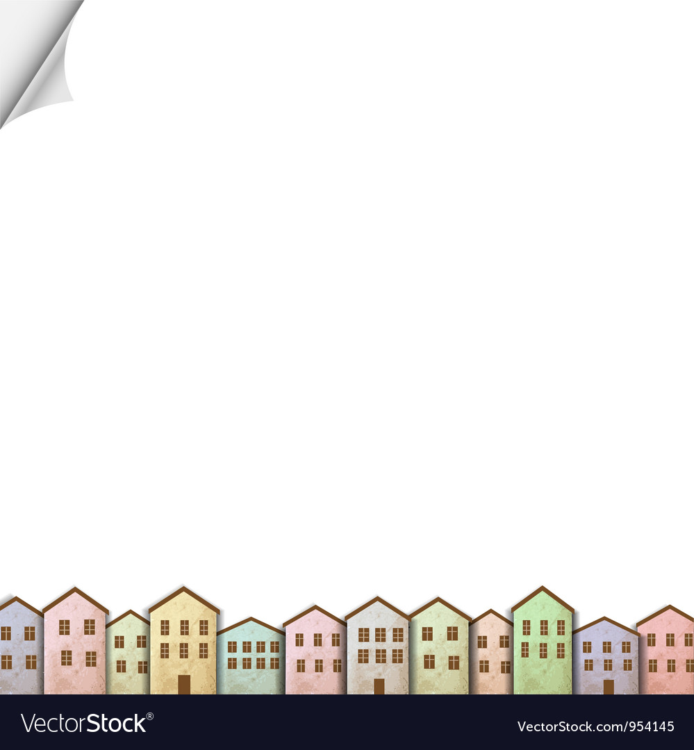 Colorful homes on white paper vector | Price: 1 Credit (USD $1)
