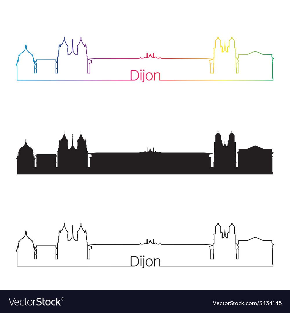 Dijon skyline linear style with rainbow vector | Price: 1 Credit (USD $1)