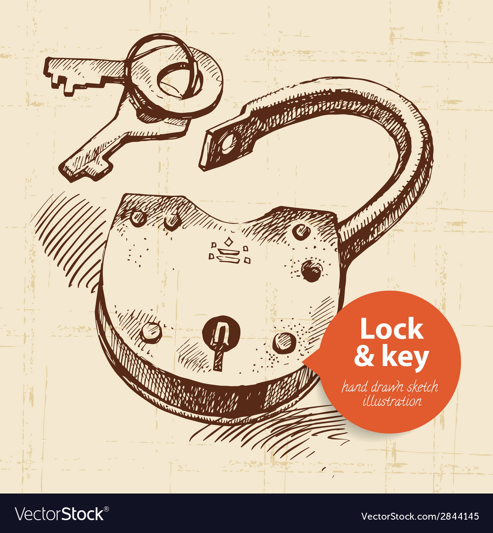 Hand drawn sketch vintage lock and key banner vector | Price: 1 Credit (USD $1)