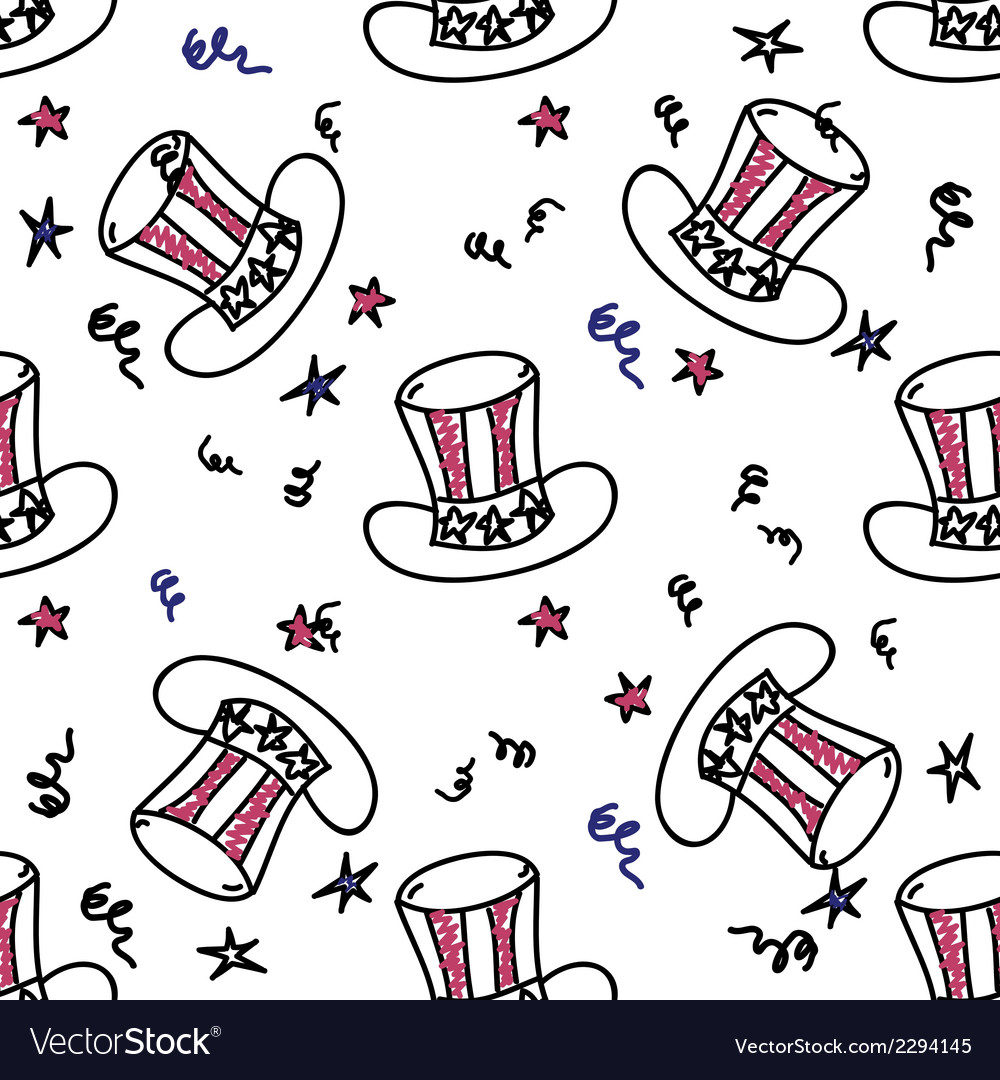 Holiday american hat seamless pattern vector | Price: 1 Credit (USD $1)