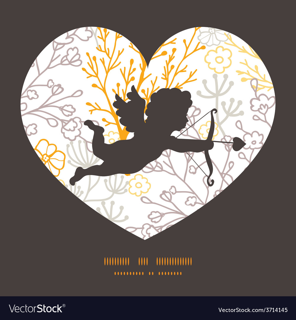 Magical floral shooting cupid silhouette vector | Price: 1 Credit (USD $1)