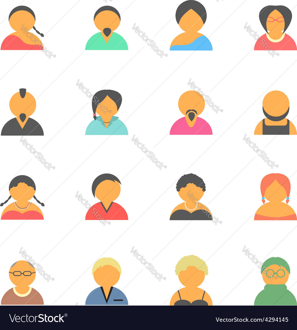 Set of simple face avatar people icons vector | Price: 1 Credit (USD $1)