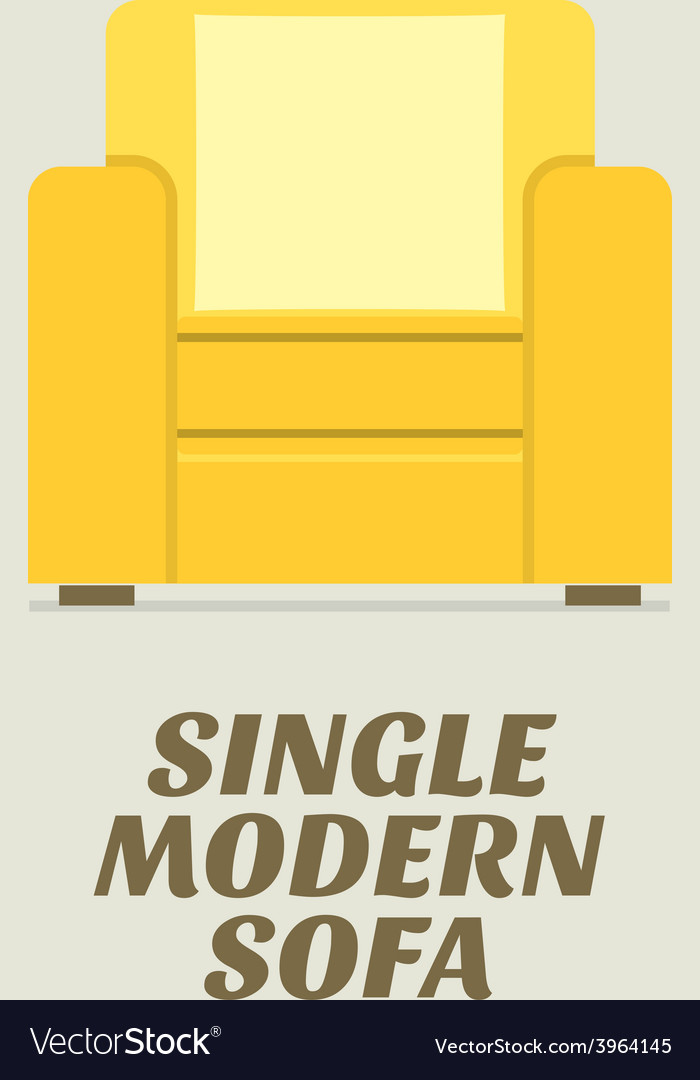 Single modern sofa flat design vector | Price: 1 Credit (USD $1)