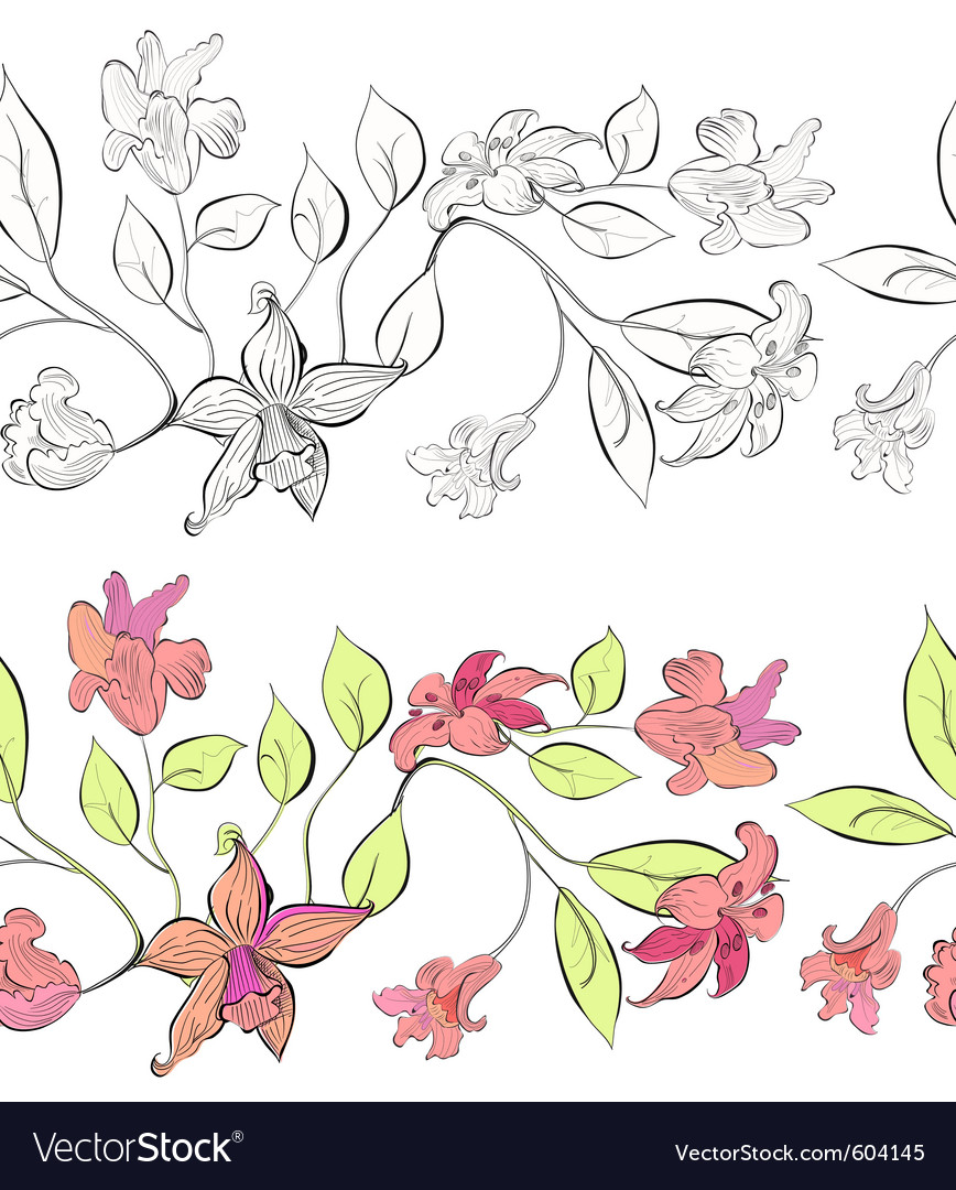 Tulip and lily decorative borders vector | Price: 1 Credit (USD $1)
