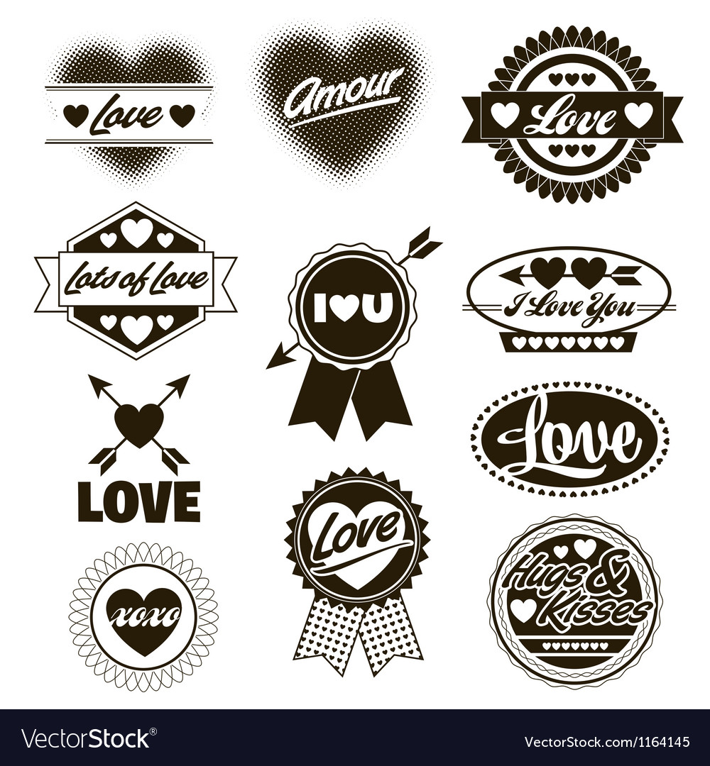 Valentine love labels seals crests one color vector | Price: 1 Credit (USD $1)