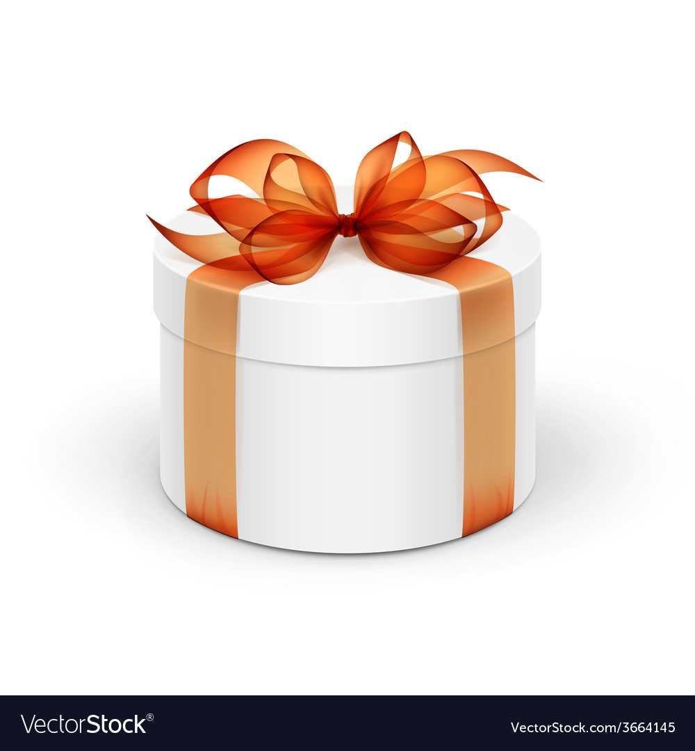 White round gift box with orange ribbon and bow vector | Price: 1 Credit (USD $1)