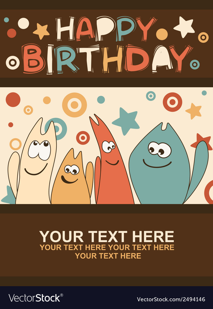Birthday card with cute kittens vector | Price: 1 Credit (USD $1)