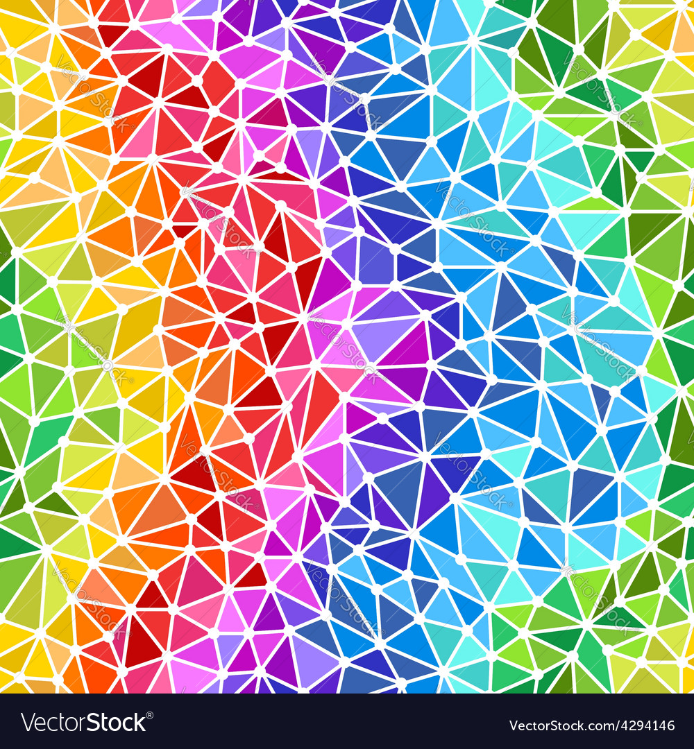Bright rainbow triangles low poly seamless backgro vector   Price: 1 Credit (USD $1)