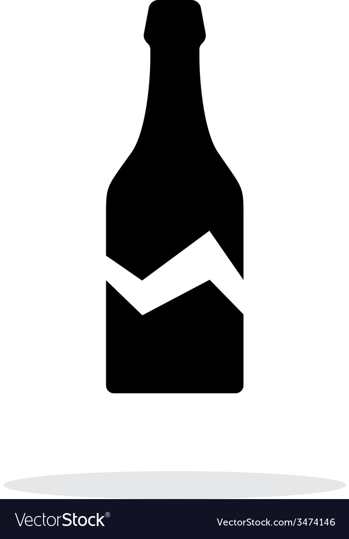 Broken bottle simple icon on white background vector | Price: 1 Credit (USD $1)