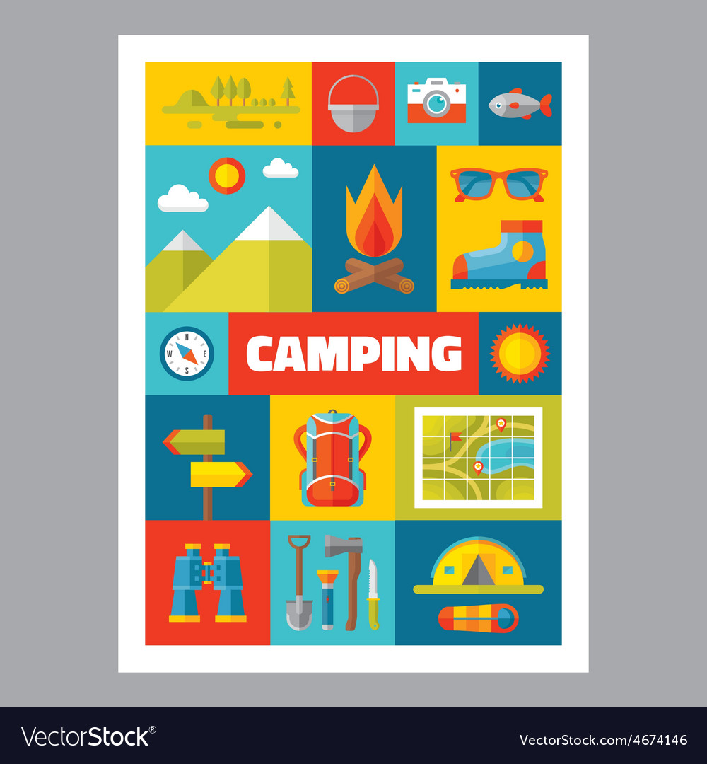 Camping - mosaic poster with icons in flat design vector | Price: 1 Credit (USD $1)