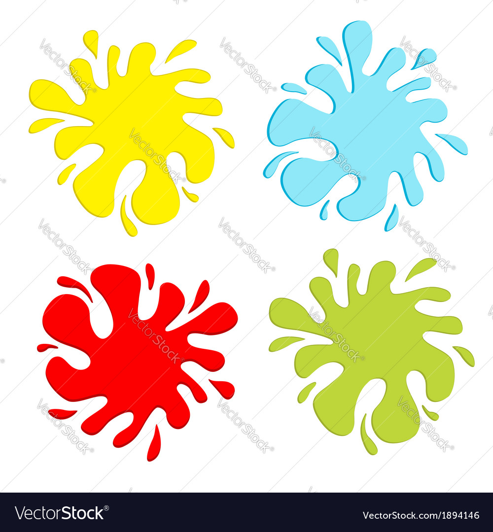 Colorful blot splash set inkblot vector