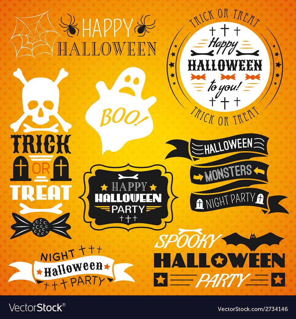 Halloween vintage set - labels ribbons vector | Price: 1 Credit (USD $1)