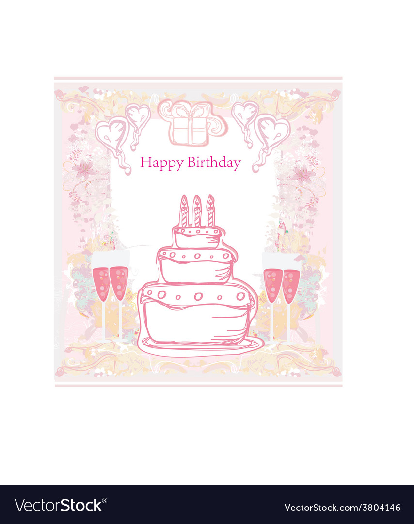 Happy birthday card with birthday cake vector   Price: 1 Credit (USD $1)