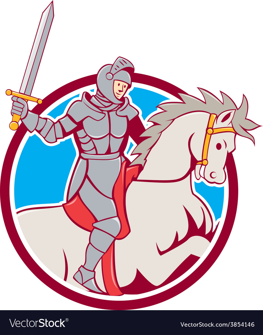 Knight riding horse sword circle cartoon vector | Price: 1 Credit (USD $1)