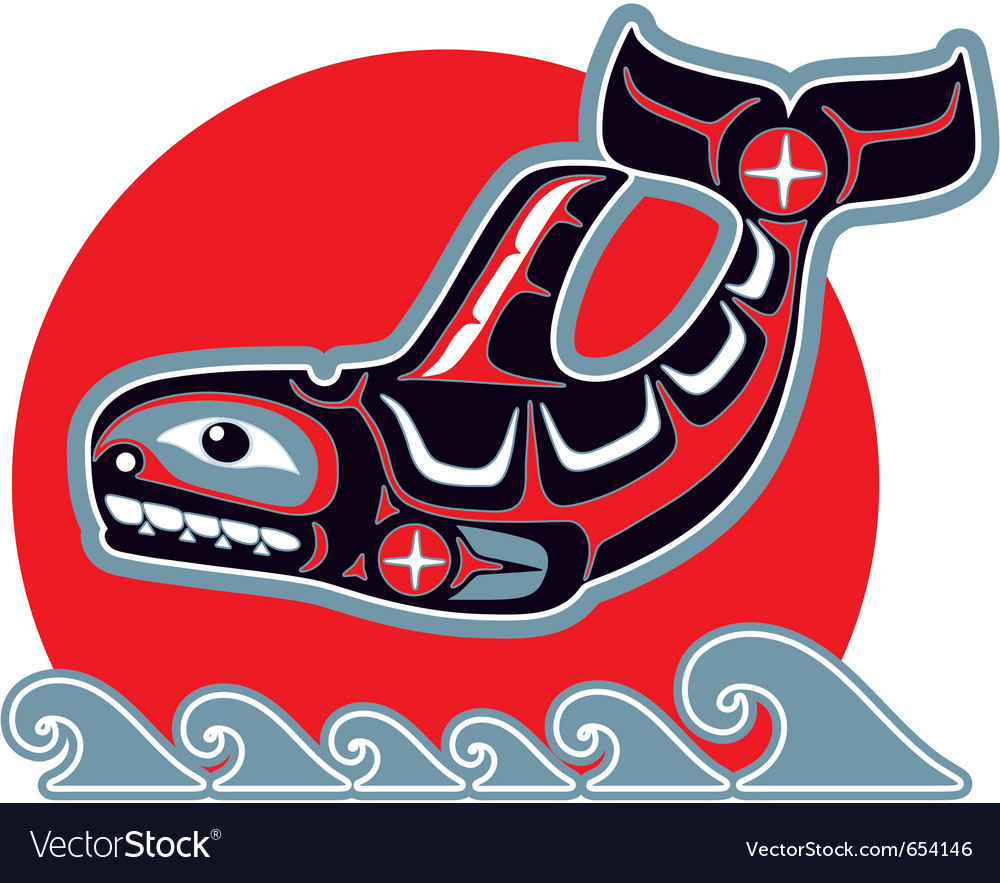 Orca  killer whale  in native art style vector