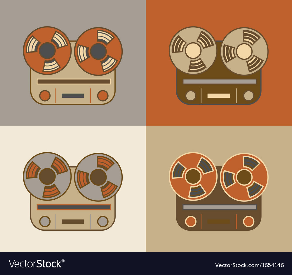 Retro reel to reel tape recorder icon vector | Price: 1 Credit (USD $1)