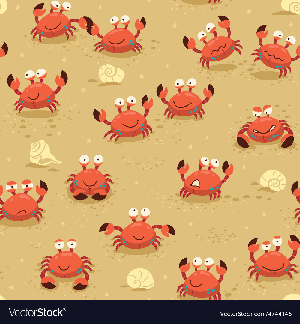 Seamless pattern with crabs vector   Price: 1 Credit (USD $1)