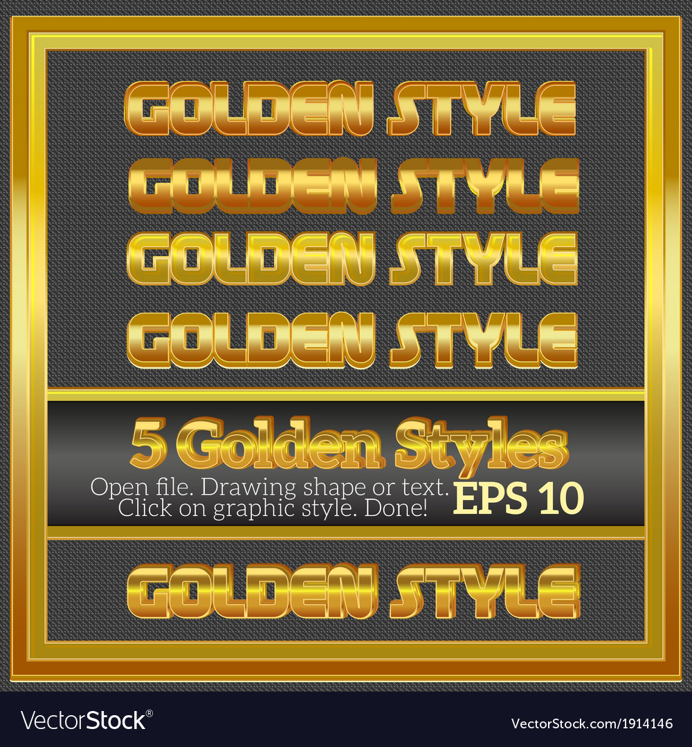 Set of rich luxury golden styles for design vector | Price: 1 Credit (USD $1)