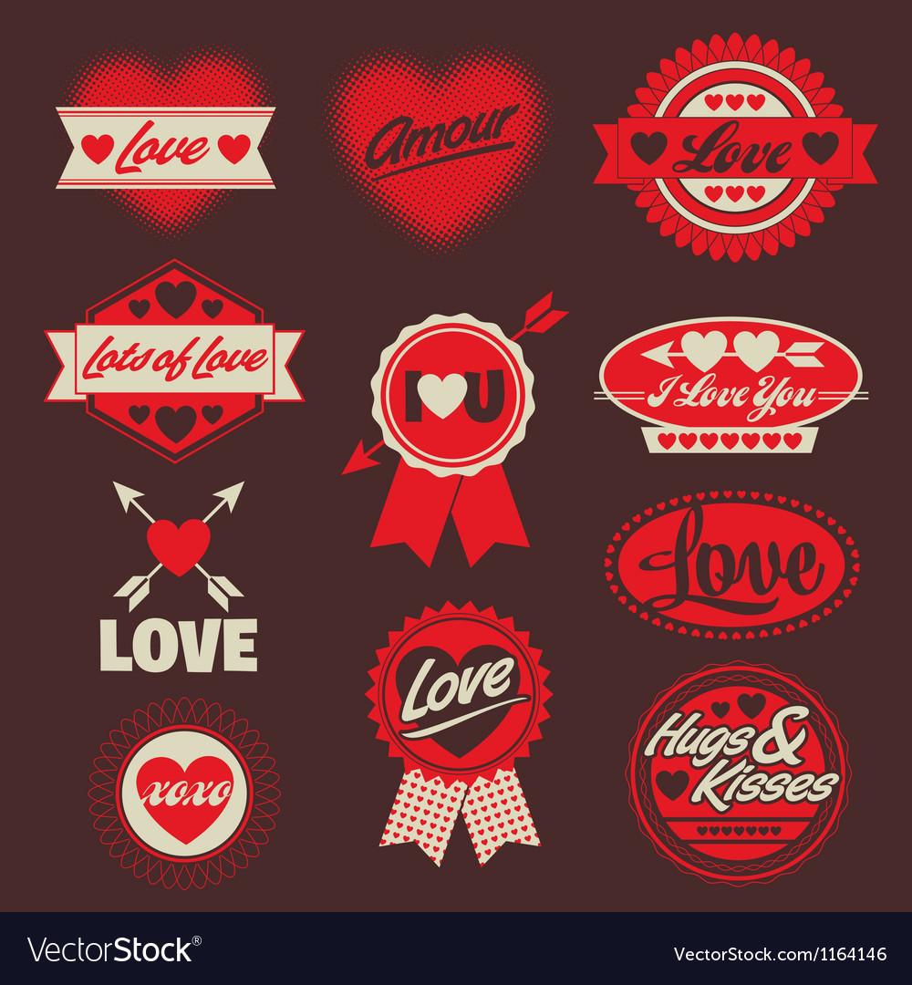 Valentine love labels seals crests vector | Price: 1 Credit (USD $1)