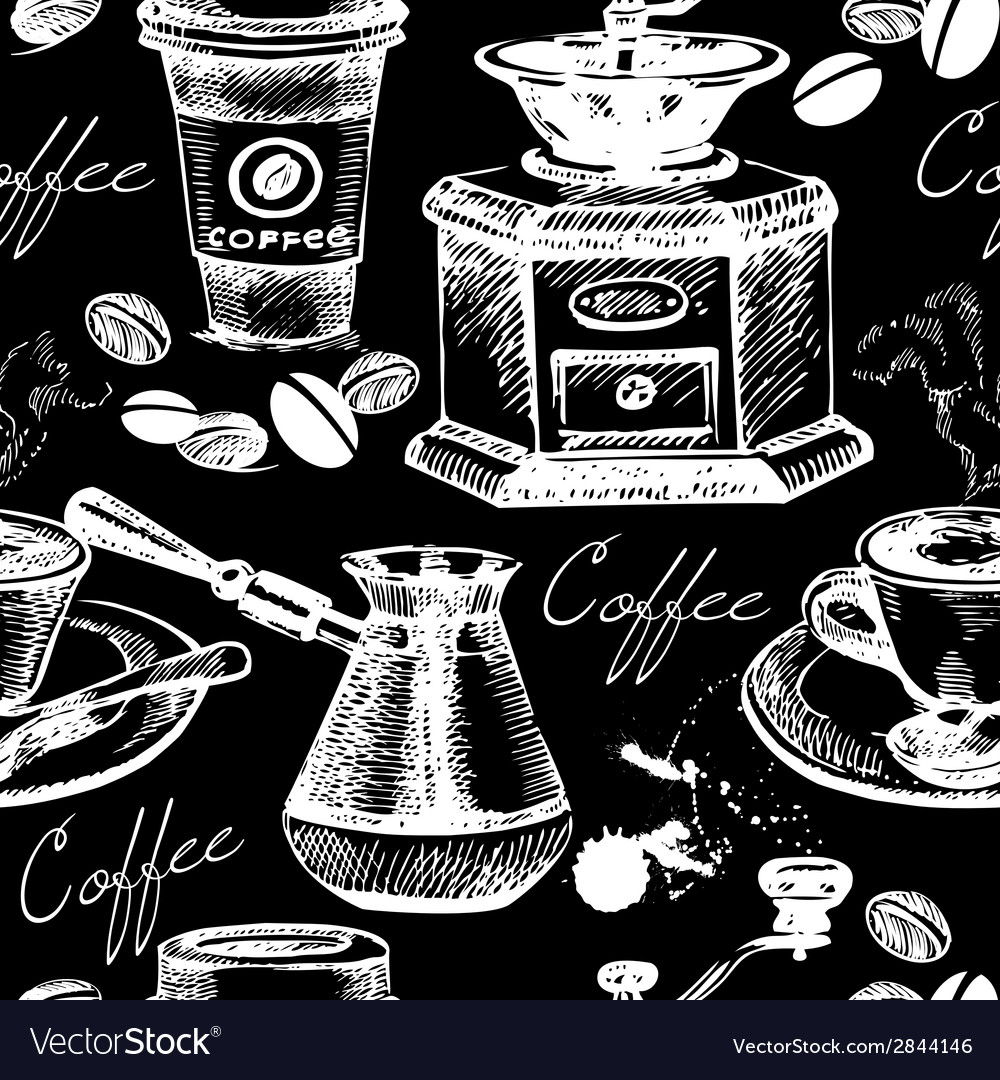 Vintage coffee seamless pattern vector | Price: 1 Credit (USD $1)