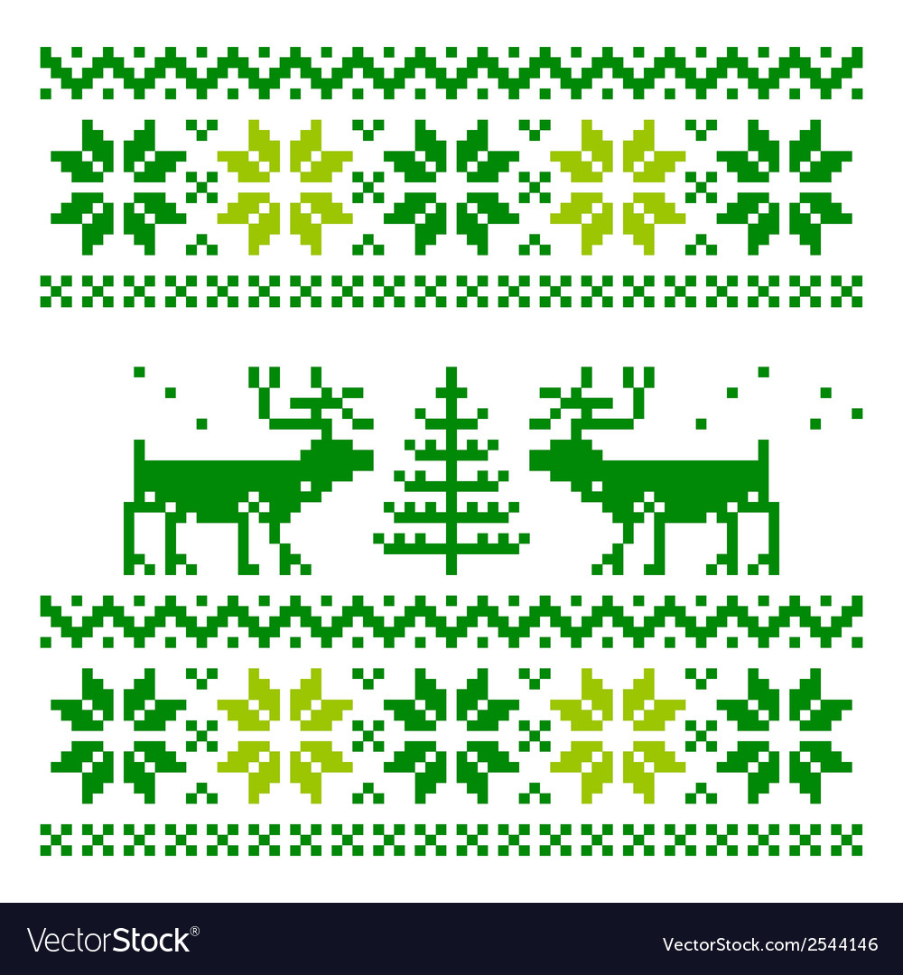 White knitted scandinavian scarf with deer vector | Price: 1 Credit (USD $1)