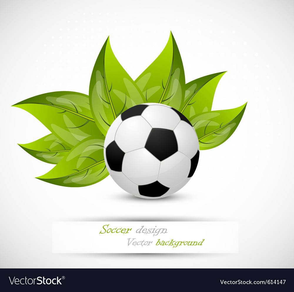 Background with ball and leaves vector | Price: 1 Credit (USD $1)