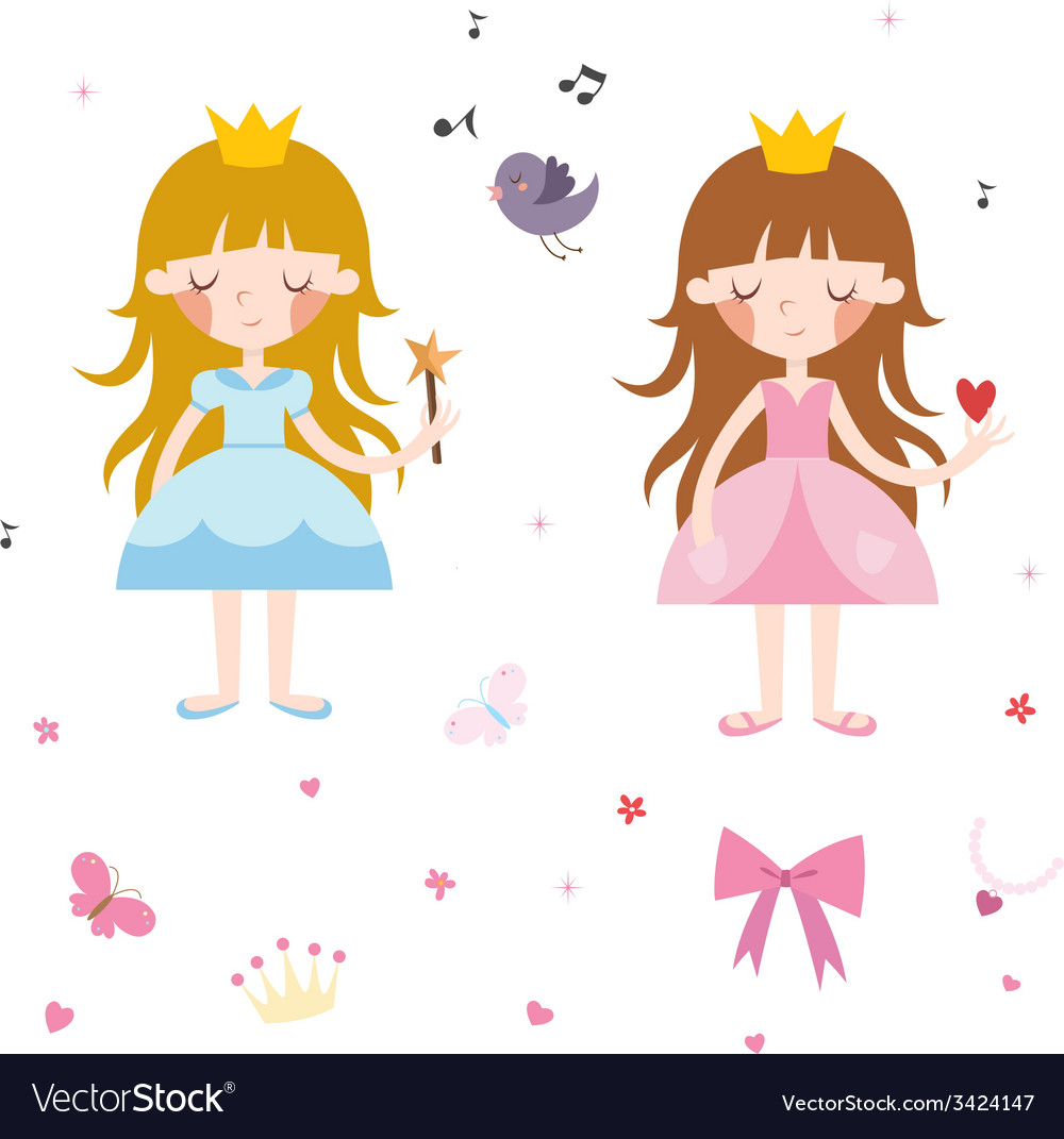 Collection of pretty princesses vector | Price: 1 Credit (USD $1)