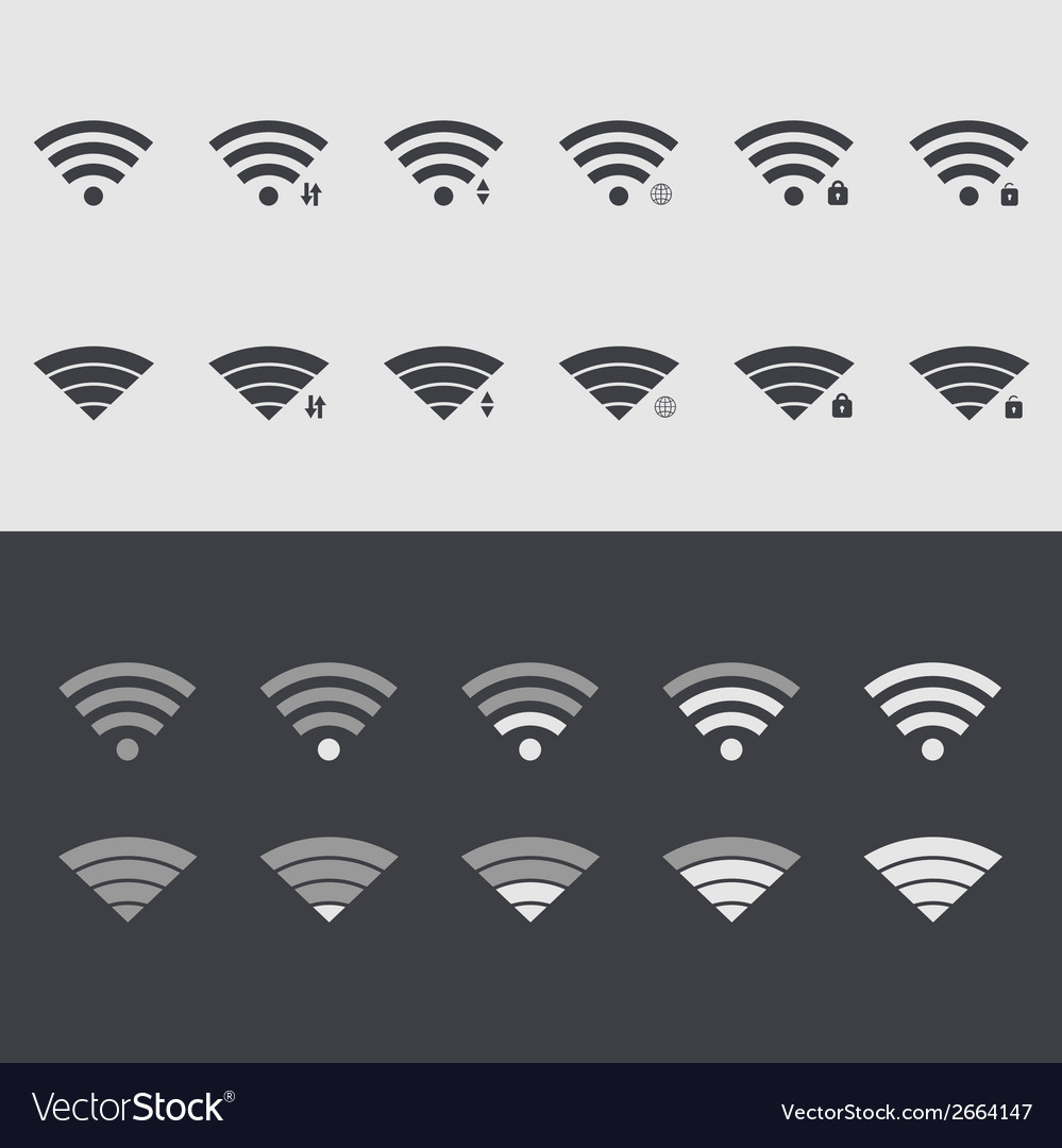 Modern wi fi set icons web element design vector | Price: 1 Credit (USD $1)