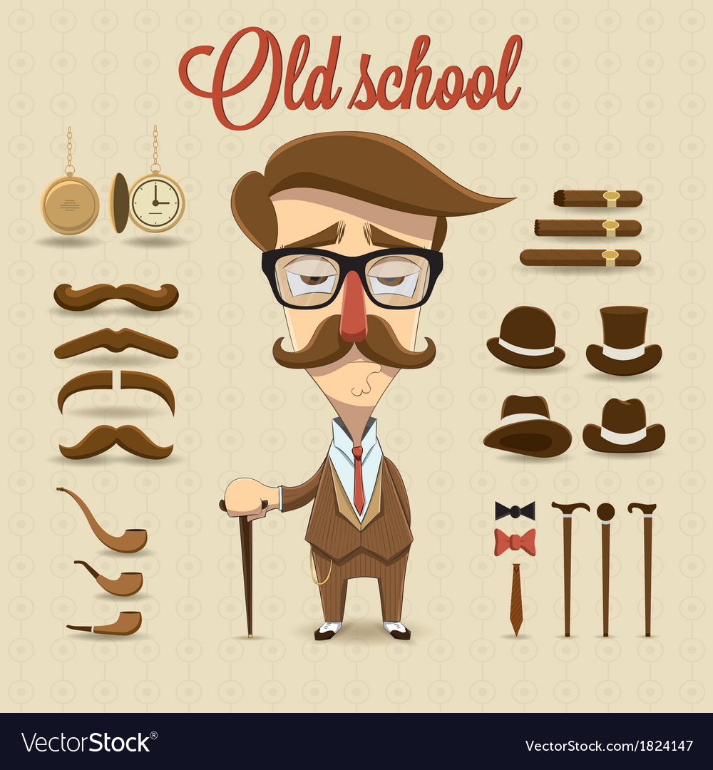 Retro gentleman character vector | Price: 1 Credit (USD $1)