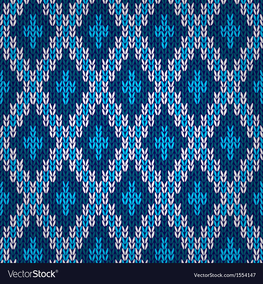 Seamless blue knitted pattern vector | Price: 1 Credit (USD $1)