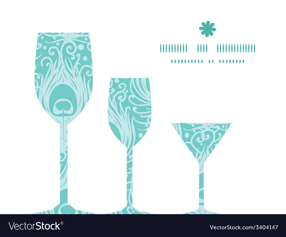 Soft peacock feathers three wine glasses vector | Price: 1 Credit (USD $1)