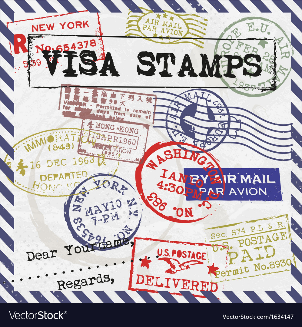 Various visa stamps background vector | Price: 1 Credit (USD $1)