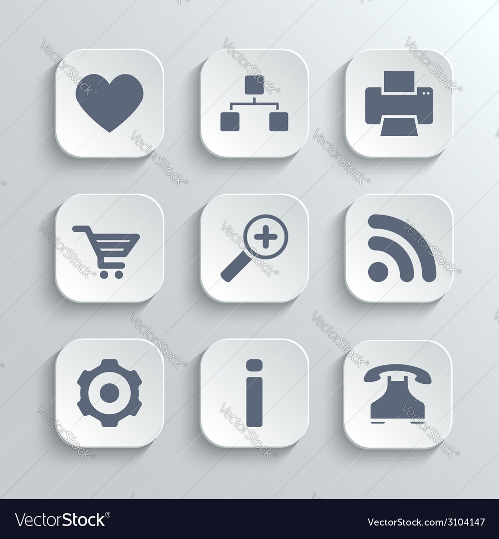 Web icons set - white app buttons vector | Price: 1 Credit (USD $1)