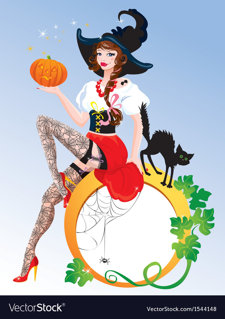 Brunette pin up halloween girl wearing witch suit vector | Price: 3 Credit (USD $3)