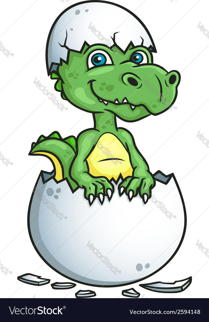 Cute dinosaur or dragon in an egg shell vector | Price: 1 Credit (USD $1)