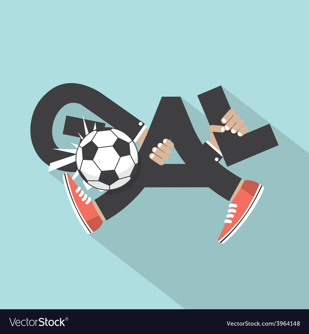 Football goal with hands and legs typography vector | Price: 1 Credit (USD $1)