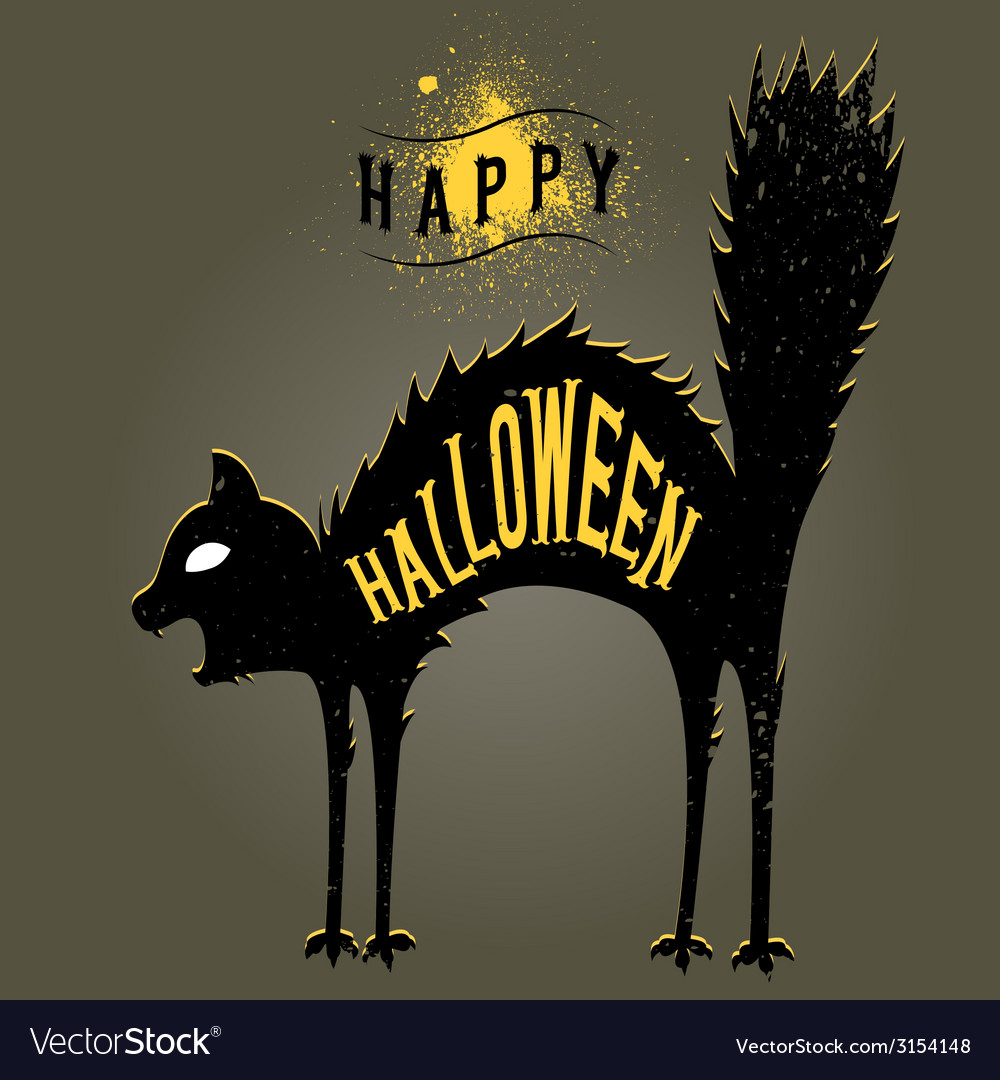 Halloween cat dark vector   Price: 1 Credit (USD $1)