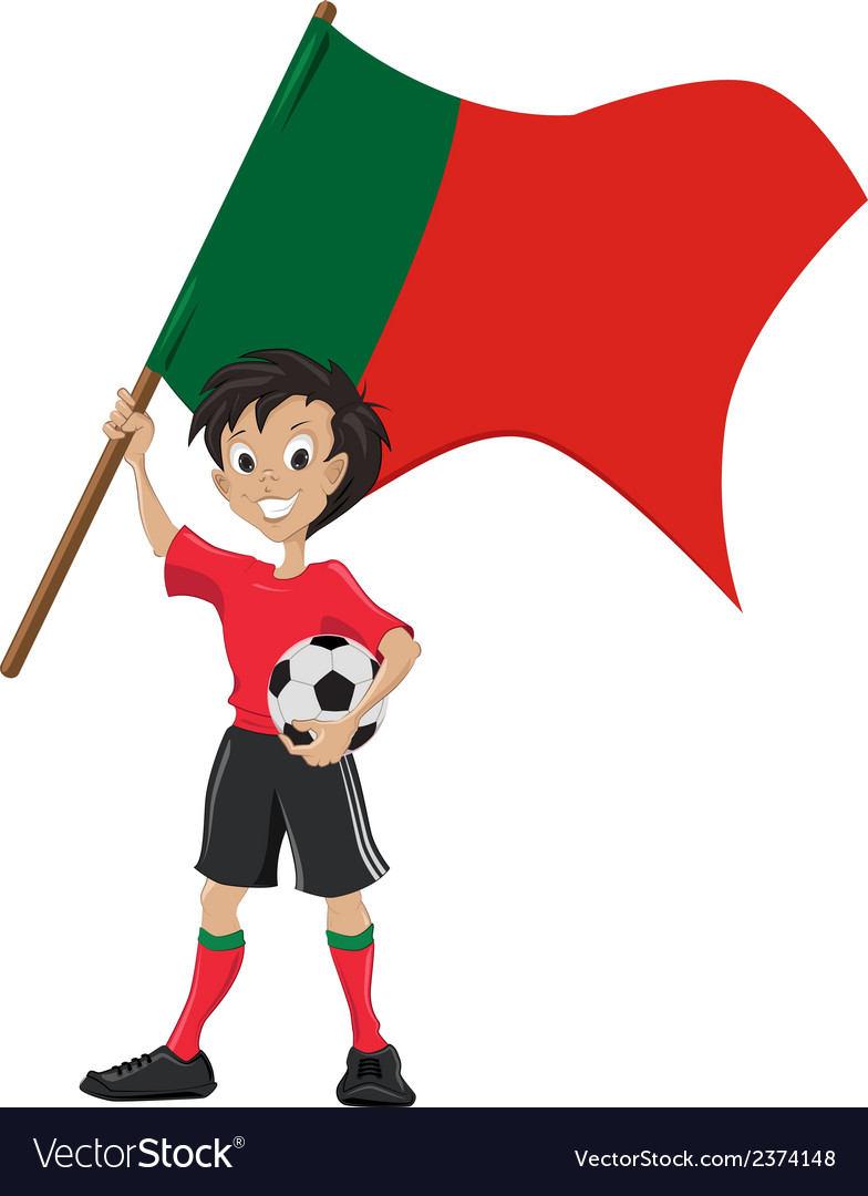 Happy soccer fan holds portugal flag vector | Price: 1 Credit (USD $1)