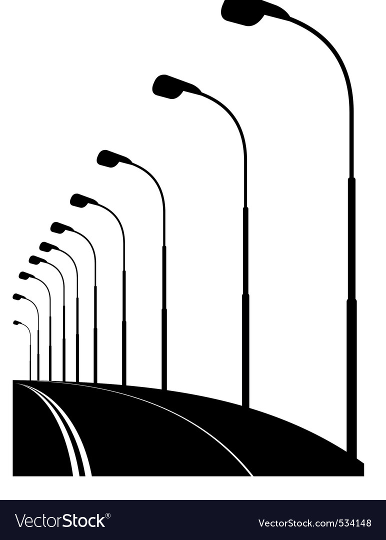 Night urban street bridge vector | Price: 1 Credit (USD $1)
