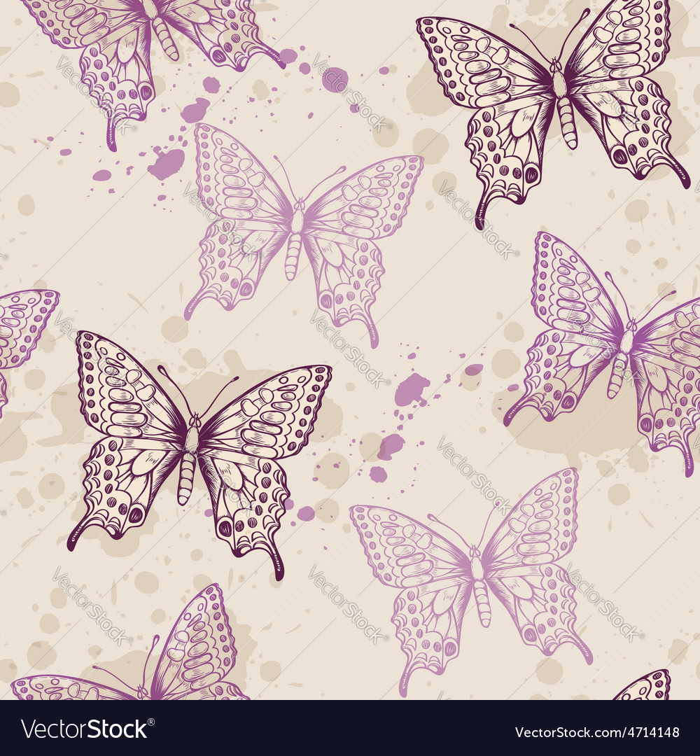 Seamless pattern with violet butterflies vector