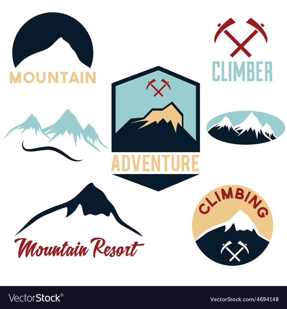 Set of mountains and climbing icons vector | Price: 1 Credit (USD $1)