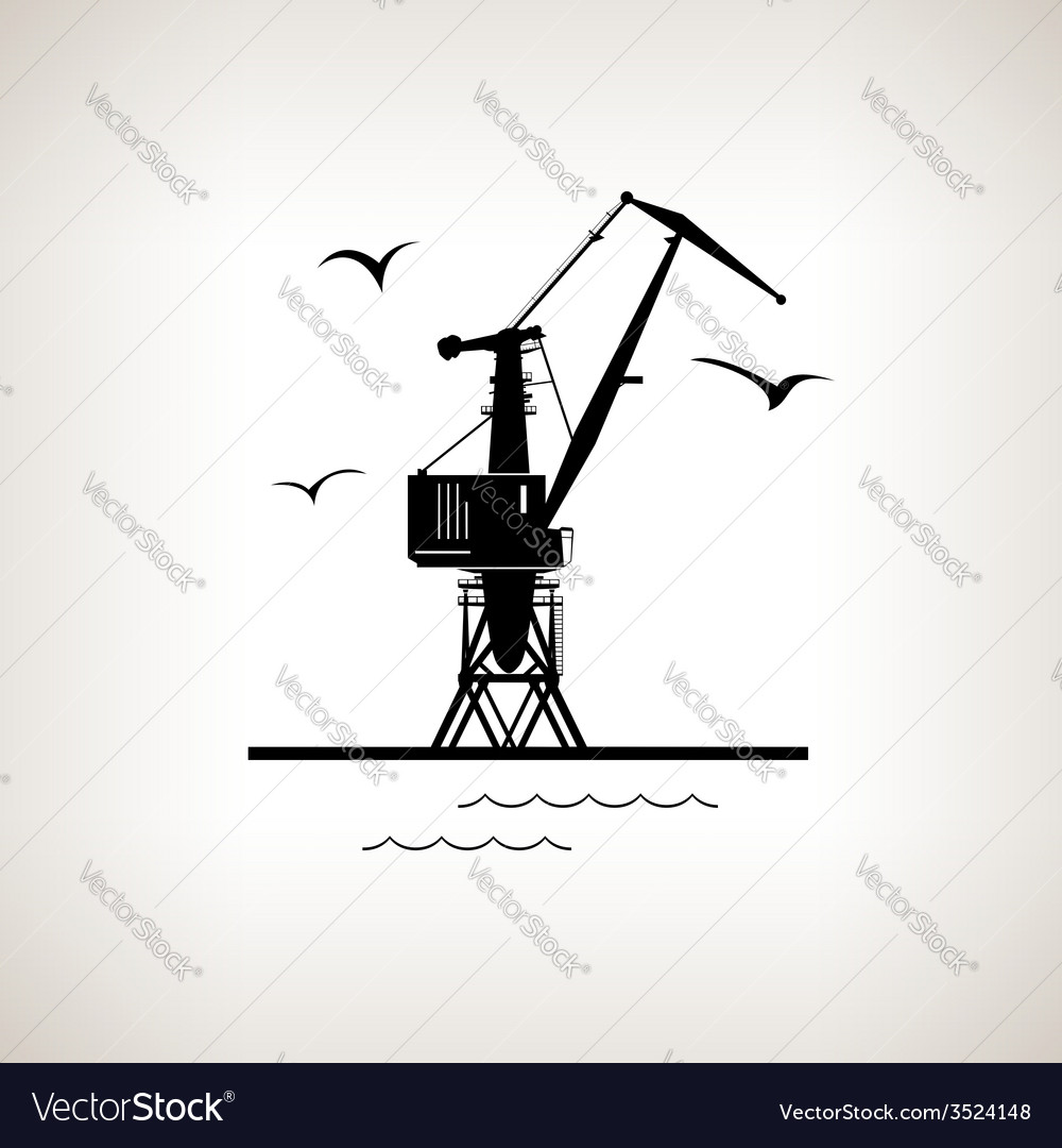 Silhouette cargo crane on a light background vector | Price: 1 Credit (USD $1)